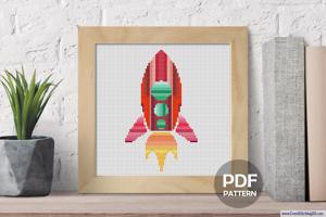 Spaceship Cross Stitch Pattern