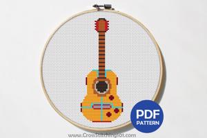 Acoustic Guitar Cross Stitch Pattern