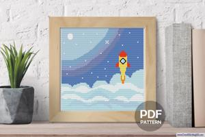 Space Rocket in Galaxy CrossStitch Pattern